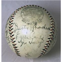 1929 NY YANKEES TEAM SIGNED BASEBALL w/ RUTH, GEHRIG, RHODES... (JSA LOA)