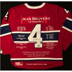 JEAN BELIVEAU SIGNED CANADIENS STATS JERSEY w/ COA