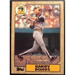 BARRY BONDS SIGNED BASEBALL ROOKIE CARD 1566/1987