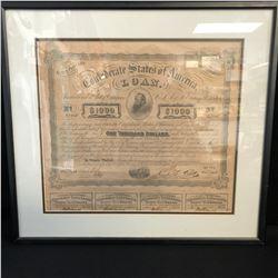CONFEDERATE STATES OF AMERICA LOAN $1000 Bond Loan 1865 Share Certificate