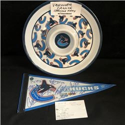 VANCOUVER CANUCKS COLLECTIBLES LOT (SERVING TRAY, TEAM SIGNED BANNER)