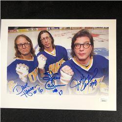 """THE HANSON BROTHERS TRIPLE SIGNED 11 X 14 """"SLAP SHOT"""" PHOTO (JSA COA)"""