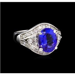 14KT White Gold 3.28 ctw Tanzanite and Diamond Ring