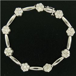"14K White Gold 7"" 4.65 ctw Round Diamond Flower Cluster Bar Link Tennis Bracelet"