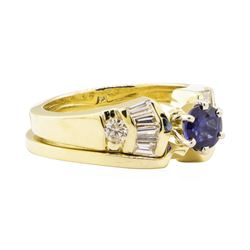 1.27 ctw Blue Sapphire And Diamond Ring And Band - 14KT Yellow Gold