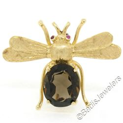 Vintage 14kt Yellow Gold 6.04 ctw Smokey Topaz and Ruby Fly Brooch Pin