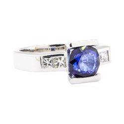 2.28 ctw Sapphire And Diamond Ring - 18KT White Gold