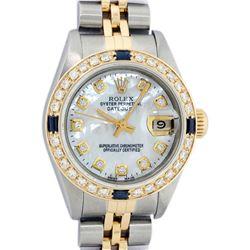 Rolex Ladies 2 Tone 18K Gold Bezel MOP Diamond & Sapphire Datejust Wristwatch