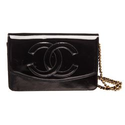 Chanel Vintage Black Patent Leather Wallet On Chain WOC Bag