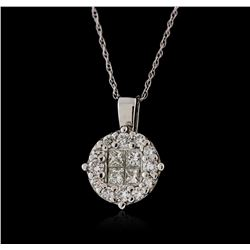 14KT White Gold 0.61 ctw Diamond Pendant with Chain