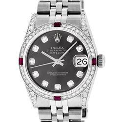Rolex Womens Midsize 31mm Grey Diamond Lugs & Ruby Datejust Wristwatch