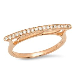 14K Rose Gold 0.13CTW Diamond Ring, (SI1/F)