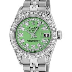 Rolex Ladies Stainless Steel 26MM Green String Diamond Lugs Datejust Wristwatch
