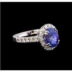 14KT White Gold 2.95 ctw Tanzanite and Diamond Ring