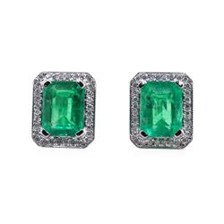3.38 ctw Emerald and Diamond Earrings - 14KT White Gold