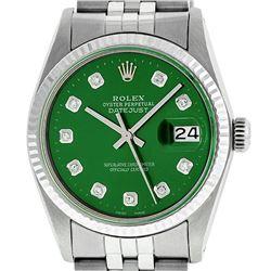 Rolex Mens Stainless Steel Green Diamond 36MM Datejust Wristwatch