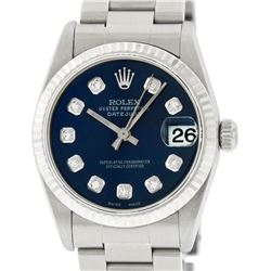 Rolex Womens Midsize 31mm 18K Gold Bezel Blue Diamond Stainless Steel Datejust