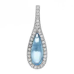14k White Gold 3.00CTW Blue Topaz and Diamond Pendant, (I1/Sky Blue/G-H)
