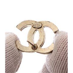 Chanel Black Crystal Faux Pearl CC Stud Earrings