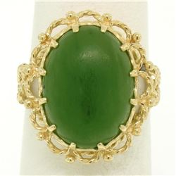 14k Yellow Gold Prong Set Cabochon Olive Green Nephrite Jade Twisted Wire Ring
