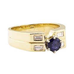 1.02 ctw Blue Sapphire and Diamond Ring - 14KT Yellow Gold