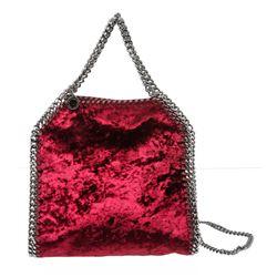 Stella McCartney Burgundy Velvet Falabella Mini Tote Crossbody Bag