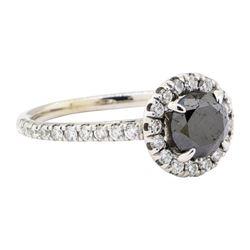 1.46 ctw Black and White Diamond Ring - 14KT White Gold