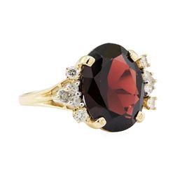 10.20 ctw Garnet and Diamond Ring - 14KT Yellow Gold