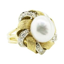 0.88 ctw Diamond Ring - 18KT Yellow And White Gold