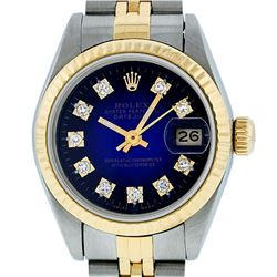 Rolex Ladies 2 Tone 14K Blue Vignette Diamond 26MM Datejust Wristwatch