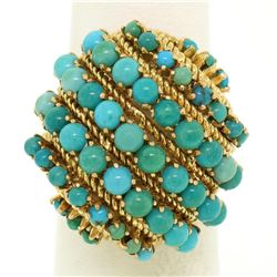 Vintage Large 18k Yellow Gold 50 Natural Round Turquoise Wire Dome Cocktail Ring