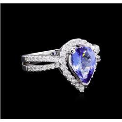 1.97 ctw Tanzanite and Diamond Ring - 14KT White Gold