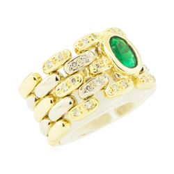 1.10 ctw Emerald and Diamond Ring - 14KT Yellow and White Gold