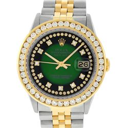 Rolex Mens 2 Tone Green Vignette String VS 3 ctw Channel Set Diamond Datejust Wr