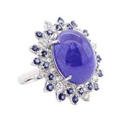 26.38 ctw Tanzanite and Diamond Ring - 14KT White Gold