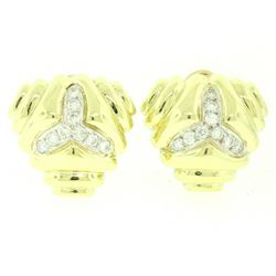 14kt Yellow Gold 1.80 ctw Diamond Triangular Earrings