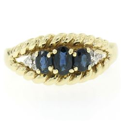 14kt Yellow Gold 1.46 ctw Oval Sapphire and Diamond Twisted Wire Band Ring