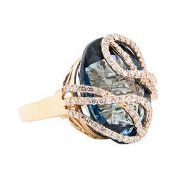 44.60 ctw London Blue Topaz And Diamond Ring - 14KT Rose Gold