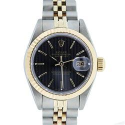 Rolex Ladies 2 Tone 14K Gold Black Tapestry Fluted Bezel Datejust Wristwatch