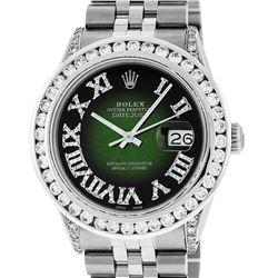 Rolex Mens Stainless Steel Green Vignette Roman Diamond Datejust Wristwatch With
