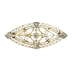 0.20 ctw Diamond Hand Made Vintage Brooch - 14KT Yellow and White Gold