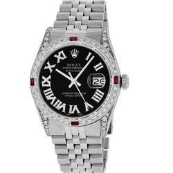 Rolex Mens Stainless Steel Black Roman Diamond & Ruby Datejust Wristwatch With R