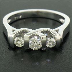 14K White Gold 0.40 ctw High Bar Set Round Brilliant Cut Diamond Band Ring Sz 6.