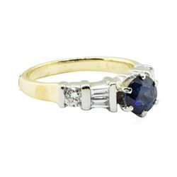 1.53 ctw Oval Brilliant Blue Sapphire And Diamond Ring - 18KT Yellow And White G
