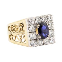 2.84 ctw Blue Sapphire And Diamond Ring - 18KT White And Yellow Gold