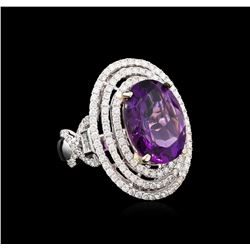 14KT Two-Tone Gold 8.70 ctw Amethyst and Diamond Ring
