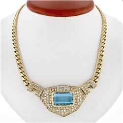 18K Gold 28.95 ctw GIA Bezel Aquamarine & Pave Diamond Chain Statement Necklace