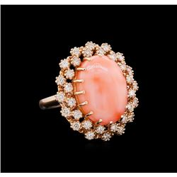 9.60 ctw Pink Coral and Diamond Ring - 14KT Rose Gold