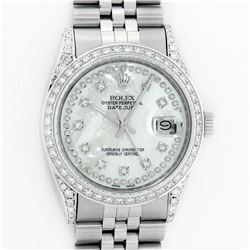 Rolex Mens Stainless Steel Mother Of Pearl Diamond Lugs Datejust Wristwatch