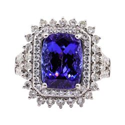 5.59 ctw Tanzanite and Diamond Ring - Platinum